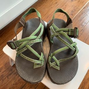 Double strap green and brown Chaco